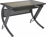 OSP Designs Horizon 42'' Desk with Keyboard Tray and Tempered Glass Top - Bronze [HZN25-FS-OS]