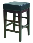 OSP Designs Metro 25'' Square Faux Leather Barstool with Solid Wood Legs - Black [ES25VS3-FS-OS]