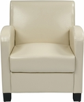 OSP Designs Eco Leather Metro Club Chair - Cream with Espresso Legs [MET807RCM-FS-OS]
