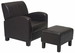 OSP Designs Faux Leather Metro Club Chair with Ottoman - Espresso [MET807-FS-OS]