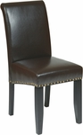 OSP Designs Metro Parsons Eco Leather Dining Chair with Nail Head Trim - Espresso [MET87ES-FS-OS]