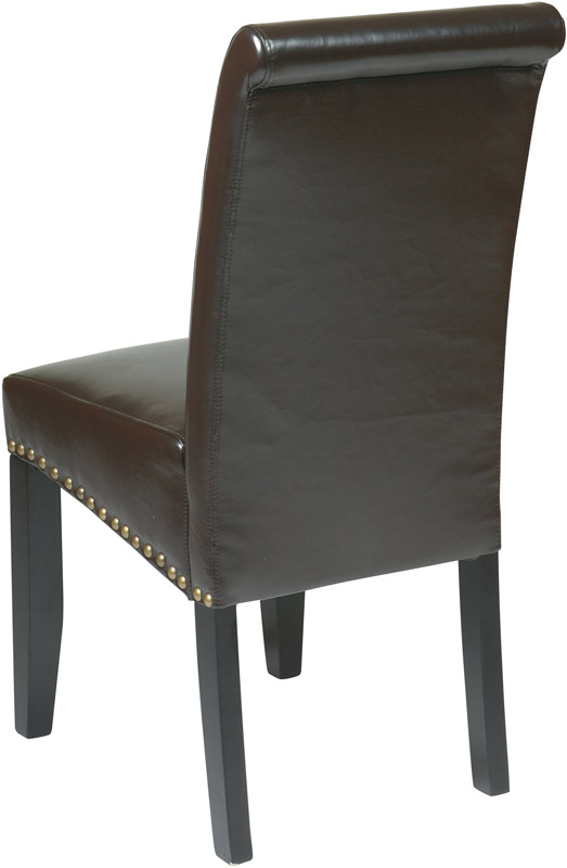 OSP Designs Metro Parsons Eco Leather Dining Chair with  : osp designs metro parsons eco leather dining chair with nail head trim espresso met87es fs os 1 from www.bizchair.com size 523 x 800 jpeg 68kB