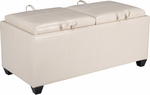 OSP Designs Metro Storage Ottoman with Dual Cushions and Trays - Cream [MET302CM-FS-OS]