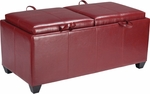 OSP Designs Metro Storage Ottoman with Dual Cushions and Trays - Crimson Red [MET302RD-FS-OS]