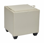 OSP Designs Eco Leather Metro Storage Ottoman with Tray - Cream [MET817BCM-FS-OS]