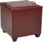 OSP Designs Eco Leather Metro Storage Ottoman with Tray - Crimson Red [MET817BRD-FS-OS]