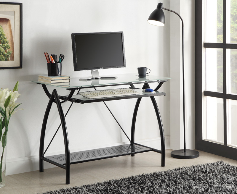 osp designs tempered glass top newport computer desk with pull out keyboard tray black nwp25bk by office star products bizchaircom - Glass Top Computer Desk