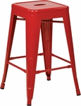 OSP Designs Patterson 24'' Steel Backless Barstool - Set of 2 - Red [PTR3024A2-9-FS-OS]