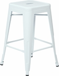 OSP Designs Patterson 24'' Steel Backless Barstool - Set of 2 - White [PTR3024A2-11-FS-OS]
