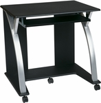 OSP Designs Saturn Computer Cart with Pull Out Key Board Tray and Casters - Black [SAT117-FS-OS]