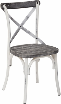 OSP Designs Somerset XBack Antique Metal Chair with Hardwood