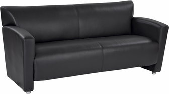 Osp Furniture Faux Leather Sofa With Silver Finish Legs Black