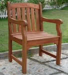 Outdoor Arched Full Vertical Slat Back Arm Chair with Slat Seat [V211-FS-VIF]