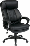 Work Smart Oversized Faux Leather Executive Chair with Padded Loop Arms - Black [FL9097-U6-FS-OS]