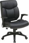Work Smart Oversized Faux Leather Managers Chair with Flip Up Arms - Black [FL89675-U6-FS-OS]