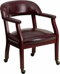 Oxblood Vinyl Luxurious Conference Chair with Casters [B-Z100-OXBLOOD-GG]