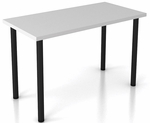 OSP Furniture Pace 4' Training Table with Laminate Top and Post Legs - Fog Grey Top with Black Legs [PAC-TT48P-GRY-BLK-OS]