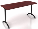 OSP Furniture Pace 5' Training Table with Laminate Top and T-Arc Legs - Mahogany Top and Black Legs [PAC-TT60A-MAH-BLK-OS]