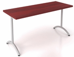 OSP Furniture Pace 5' Training Table with Laminate Top and T-Arc Legs - Mahogany Top and Metallic Legs [PAC-TT60A-MAH-MET-OS]