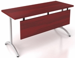 OSP Furniture Pace 5' Table with Modesty Panel and T-Arc Legs - Mahogany Top and Metallic Legs [PAC-TT60AM-MAH-MET-OS]
