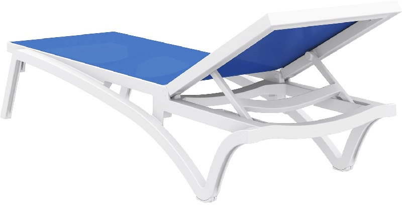 Pacific blue sling chaise lounge with white frame isp089 for Blue sling chaise lounge