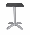 Nevada 24'' Square Black Durawood Table Top with Palm 4 Aluminum Table Base - Black [SC-1002-583-SC-2401-402-BLK-SCON]