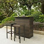 Palm Harbor 3 Piece Outdoor Wicker Bar Set - Table & Two Stools [KO70009BR-FS-CRO]
