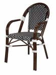 Paris Indoor/Outdoor Stackable Arm Chair with Dark Bamboo Aluminum Frame - Black and White [SC-2203-163-BLACK-WHITE-SCON]