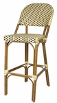 Paris Indoor/Outdoor Stackable Armless Bar Chair with Light Bamboo Aluminum Frame - Cream and Chocolate [SC-2203-172-CREAM-CHOCOLATE-SCON]