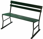 Garden Style Russian Hardwood Slat and Black Steel Frame Armless Bench - Green [72352-FS-ALG]