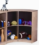 Curved in Birch Laminate Cabinet with Pegboard Back and Hand Sanded Edges [WB0655-FS-WBR]