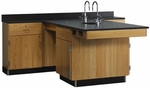 Perimeter Science Wooden Workstation with 1'' Thick Black Epoxy Resin Top, 4 Locking Cabinets, and 4 Locking Drawers - 90''W x 84''D x 36''H [2826K-DW]