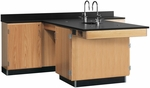 Perimeter Science Wooden Workstation with 1'' Thick Black Epoxy Resin Top and 4 Locking Cabinets - 90''W x 84''D x 36''H [2816K-DW]