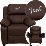 Personalized Deluxe Padded Brown Leather Kids Recliner with Storage Arms [BT-7985-KID-BRN-LEA-EMB-GG]