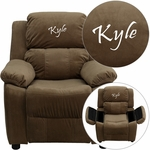 Personalized Deluxe Padded Brown Microfiber Kids Recliner with Storage Arms [BT-7985-KID-MIC-BRN-EMB-GG]