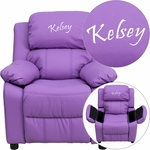 Personalized Deluxe Padded Lavender Vinyl Kids Recliner with Storage Arms [BT-7985-KID-LAV-EMB-GG]