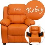 Personalized Deluxe Padded Orange Vinyl Kids Recliner with Storage Arms [BT-7985-KID-ORANGE-EMB-GG]