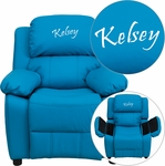 Personalized Deluxe Padded Turquoise Vinyl Kids Recliner with Storage Arms [BT-7985-KID-TURQ-EMB-GG]
