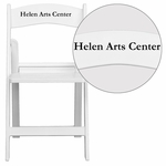 Personalized HERCULES Series 1000 lb. Capacity White Resin Folding Chair with Slatted Seat [LE-L-1-WH-SLAT-EMB-VYL-GG]