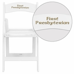 Personalized HERCULES Series 1000 lb. Capacity White Resin Folding Chair with White Vinyl Padded Seat [LE-L-1-WHITE-EMB-VYL-GG]