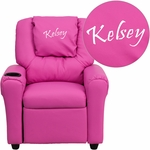 Personalized Hot Pink Vinyl Kids Recliner with Cup Holder and Headrest [DG-ULT-KID-HOT-PINK-EMB-GG]