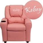 Personalized Pink Vinyl Kids Recliner with Cup Holder and Headrest [DG-ULT-KID-PINK-EMB-GG]