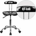 Personalized Vibrant Black and Chrome Swivel Task Chair with Tractor Seat