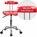 Personalized Vibrant Cherry Tomato and Chrome Swivel Task Chair with Tractor Seat [LF-214-CHERRYTOMATO-EMB-VYL-GG]