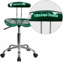 Personalized Vibrant Green and Chrome Swivel Task Chair with Tractor Seat
