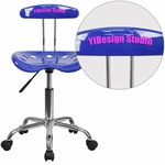 Personalized Vibrant Nautical Blue and Chrome Swivel Task Chair with Tractor Seat [LF-214-NAUTICALBLUE-EMB-VYL-GG]