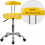 Personalized Vibrant Orange-Yellow and Chrome Swivel Task Chair with Tractor Seat [LF-214-YELLOW-EMB-VYL-GG]