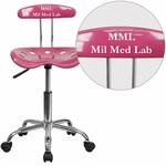 Personalized Vibrant Pink and Chrome Swivel Task Chair with Tractor Seat [LF-214-PINK-EMB-VYL-GG]