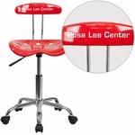 Personalized Vibrant Red and Chrome Swivel Task Chair with Tractor Seat [LF-214-RED-EMB-VYL-GG]