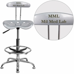 Personalized Vibrant Silver and Chrome Drafting Stool with Tractor Seat [LF-215-SILVER-EMB-VYL-GG]